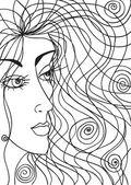 Desenho abstrato do rosto de mulher — Vetorial Stock