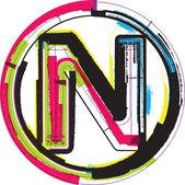 Kolorowe tło czcionki literę n — Wektor stockowy