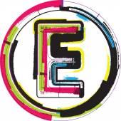 Grunge coloridas fuentes letra e — Vector de stock