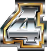 Fancy font Number 4 — Stock Vector