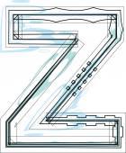 Шрифт иллюстрации буква z — Cтоковый вектор