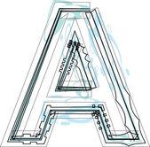 Font illustration letter A — Stock Vector
