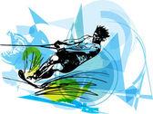 Ilustração de esqui aquático — Vetor de Stock