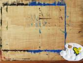 Wooden easel with art palette — Stock Photo