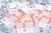 Rubles and dollars — Stock Photo