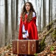 Beautiful woman with red cloak and suitcase — Stock Photo #63015791