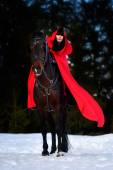 Beautiful woman with red cloak with horse outdoor in winter — Fotografia Stock