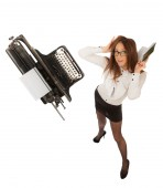 Secretary with typewriter — Stock Photo