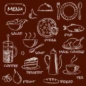 Conjunto de elementos de menú dibujado a mano — Vector de stock