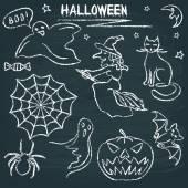 Kara tahta halloween siluet ayarla — Stok Vektör