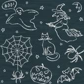 Hand drawn Halloween seamless pattern — Stock Vector