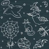 Patrones sin fisuras de halloween dibujados a mano — Vector de stock