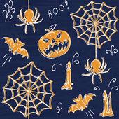 Chalkboard Halloween seamless pattern — Stock Vector