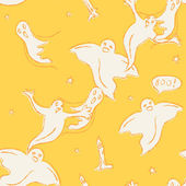 Halloween seamless pattern with ghosts — Vector de stock