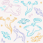 Doodle Halloween seamless pattern — Vettoriale Stock
