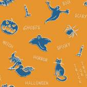 Halloween silhouettes pattern with text — Vector de stock