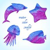 Watercolor sealife silhouettes set — Stock Vector