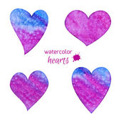Set of watercolor hearts — ストックベクタ
