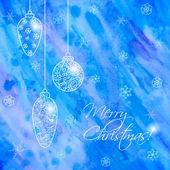 Christmas hand-drawn card with balls — Stock Vector
