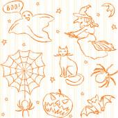 Modèle sans couture d'halloween dessinés à la main — Vecteur