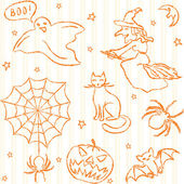 Hand drawn Halloween seamless pattern — Stock Vector