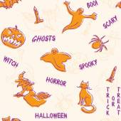 Halloween silhouettes pattern with text — Stock vektor