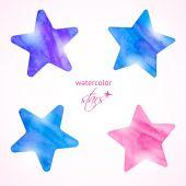 Watercolor stars set — Stock Vector