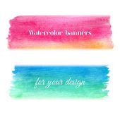 Bright watercolor banners set — Stock Vector