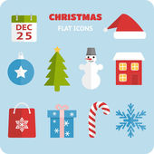 Flat Christmas icons set — Stock Vector