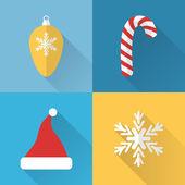 Flat Christmas icons set — Vector de stock