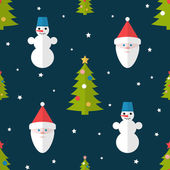 Christmas seamless pattern in flat style — Stock Vector