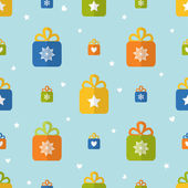 Flat seamless pattern with presents — Stock Vector