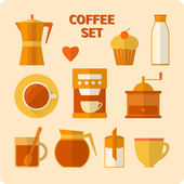 Flat coffee icons set — Stock Vector