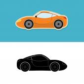 Sports car icon and silhouette — Vettoriale Stock
