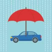 Car under umbrella — Stock Vector