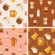 Set of seamless patterns with coffee items — Stock vektor #61034335