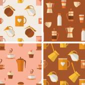 Set of seamless patterns with coffee items — Stock Vector