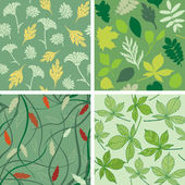 Set of seamless patterns with leaves — Stock Vector