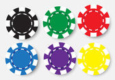 Six poker chips isolated on white background — Stock Vector
