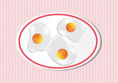 Three fried eggs in plate on japenese background. — Stock Vector