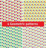 Vier naadloze geometrische patronen. — Stockvector