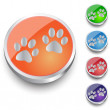 Animal paw icons, web icon. Round button set — Stock Vector #63705295
