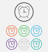 Alarm clock vector icon. Round circle buttons with frame — Stock Vector