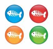 Fish bone, fish skeleton Glass Button Icon Set — Stock Vector
