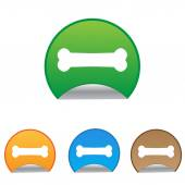 Dog bone sign icon. Pets food symbol. Round stickers. — Vecteur