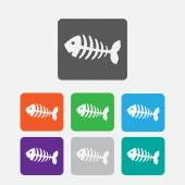 Fish bone, fish skeleton. Round squares buttons — Stock Vector