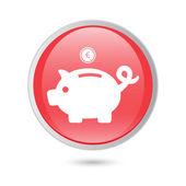 Piggy bank - saving money. red glossy button — Stock Vector