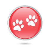 Paw sign icon. Dog pets steps symbol. red glossy button — Stock Vector