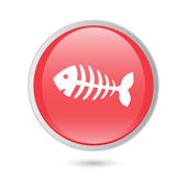 Fish bone, fish skeleton. red glossy button — Stock Vector