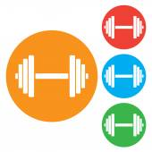Sports gym equipment. Dumbbell - Vector icon isolated. Round colourful buttons — Stock Vector